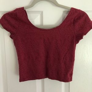 Abercrombie crop lace tee